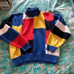 Vtg color blocked turtle neck sweater
